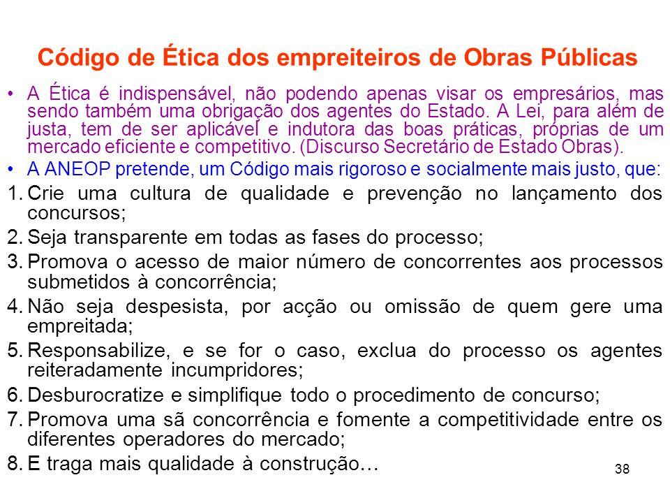 Código de Ética dos empreiteiros de Obras Públicas