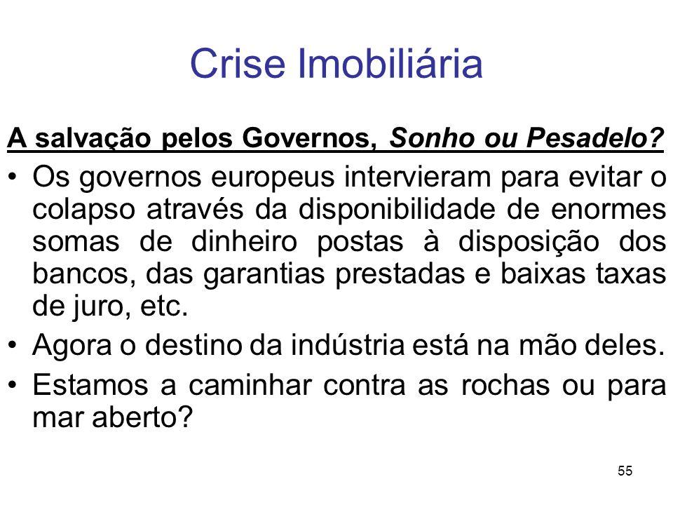 Crise Imobiliária A salvação pelos Governos, Sonho ou Pesadelo