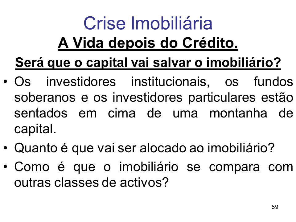 A Vida depois do Crédito. Será que o capital vai salvar o imobiliário