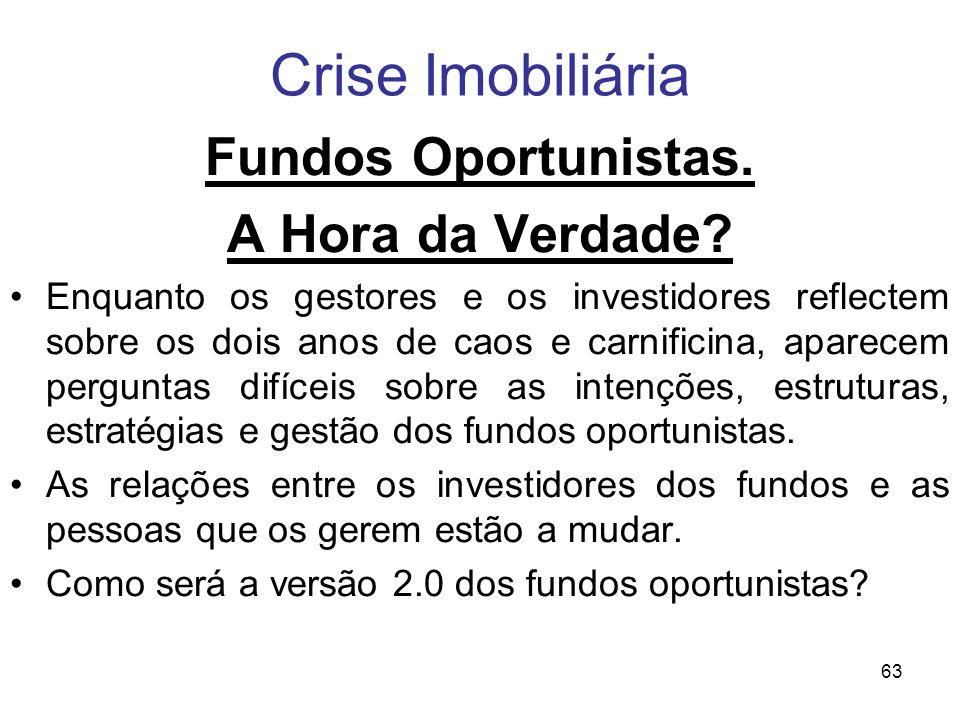 Crise Imobiliária Fundos Oportunistas. A Hora da Verdade