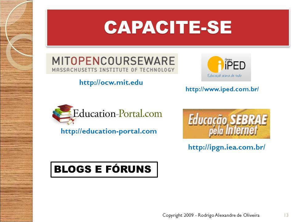 CAPACITE-SE BLOGS E FÓRUNS http://ocw.mit.edu