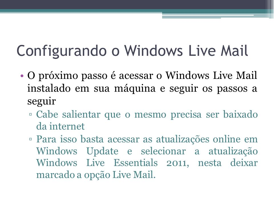 Configurando o Windows Live Mail