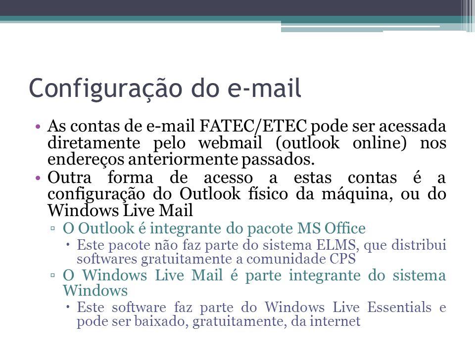 Configuração do e-mail