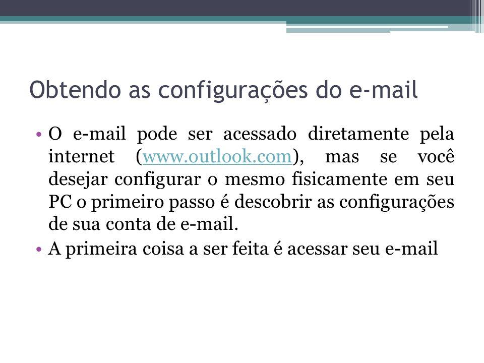 Obtendo as configurações do e-mail