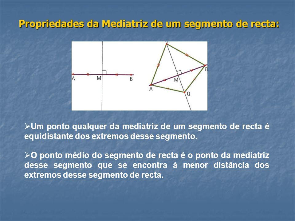 Propriedades da Mediatriz de um segmento de recta: