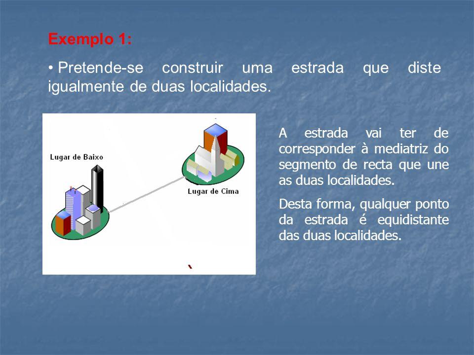 Exemplo 1: Pretende-se construir uma estrada que diste igualmente de duas localidades.
