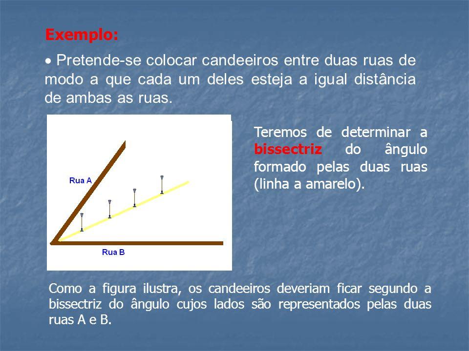 Exemplo:  Pretende-se colocar candeeiros entre duas ruas de modo a que cada um deles esteja a igual distância de ambas as ruas.