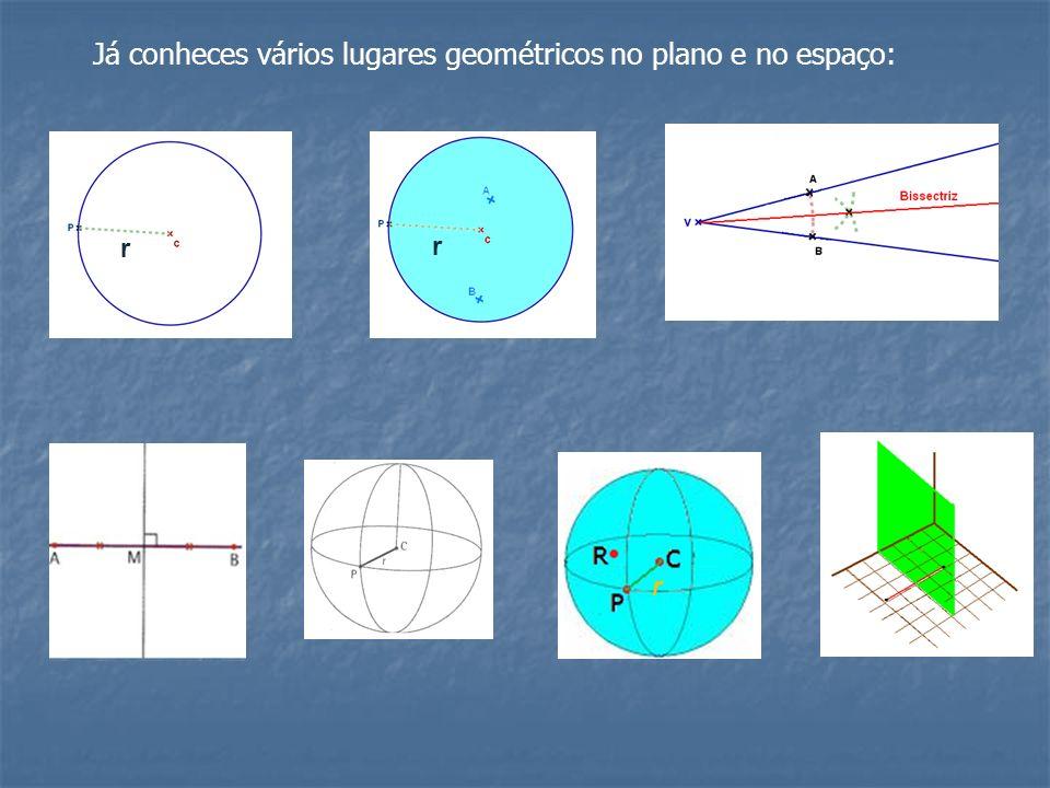 Já conheces vários lugares geométricos no plano e no espaço: