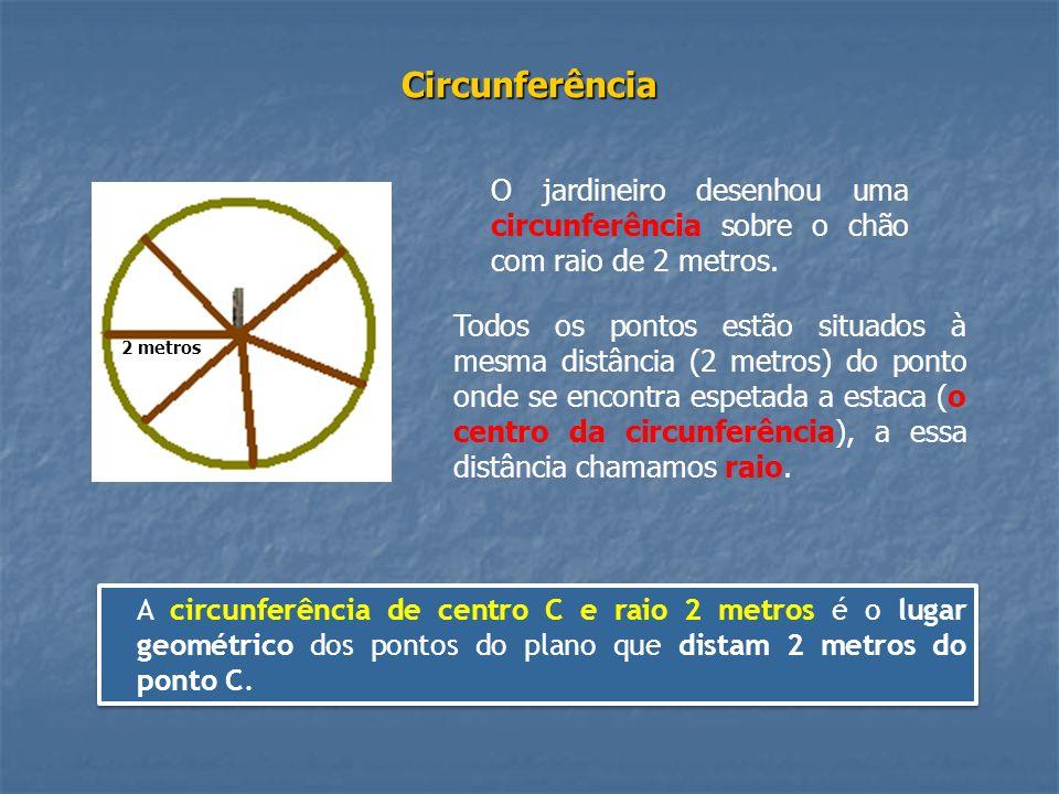 Circunferência O jardineiro desenhou uma circunferência sobre o chão com raio de 2 metros. 2 metros.