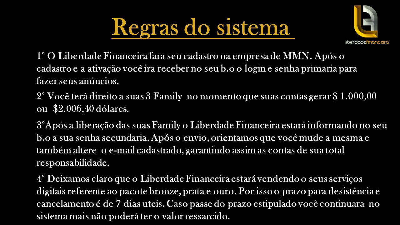 Regras do sistema