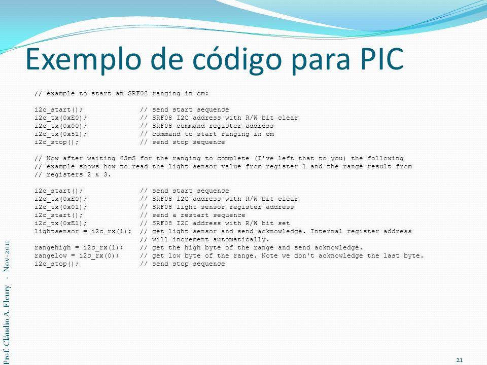 Exemplo de código para PIC