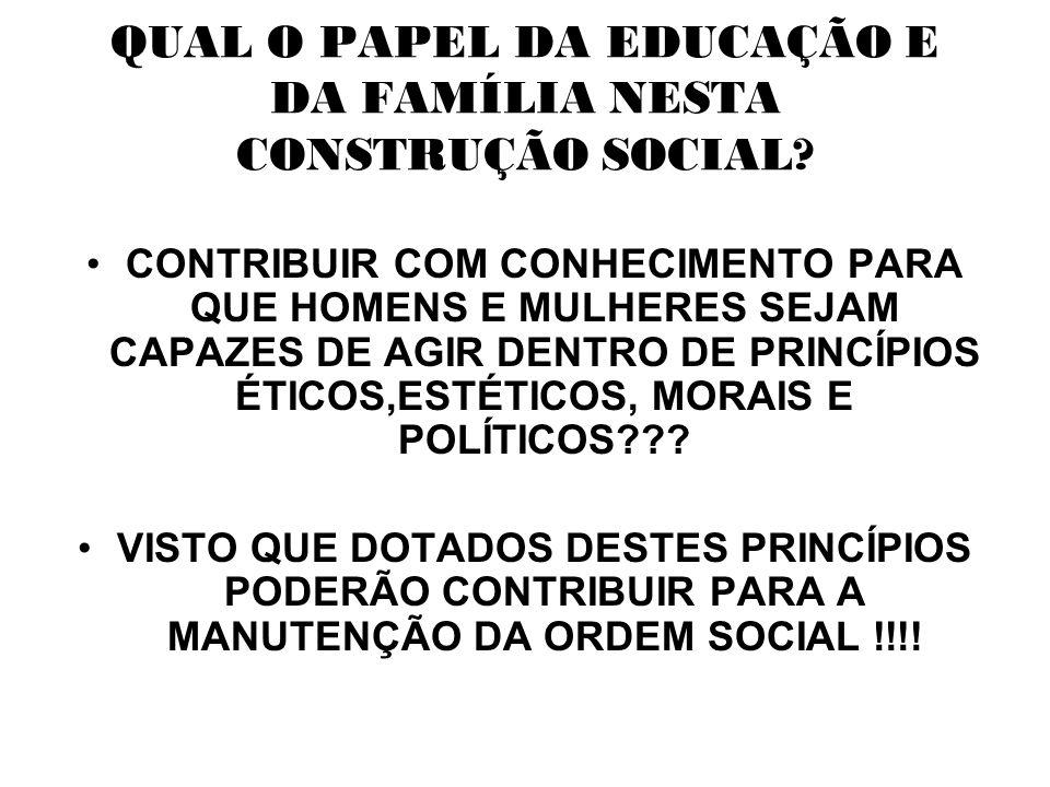 QUAL O PAPEL DA EDUCAÇÃO E DA FAMÍLIA NESTA CONSTRUÇÃO SOCIAL