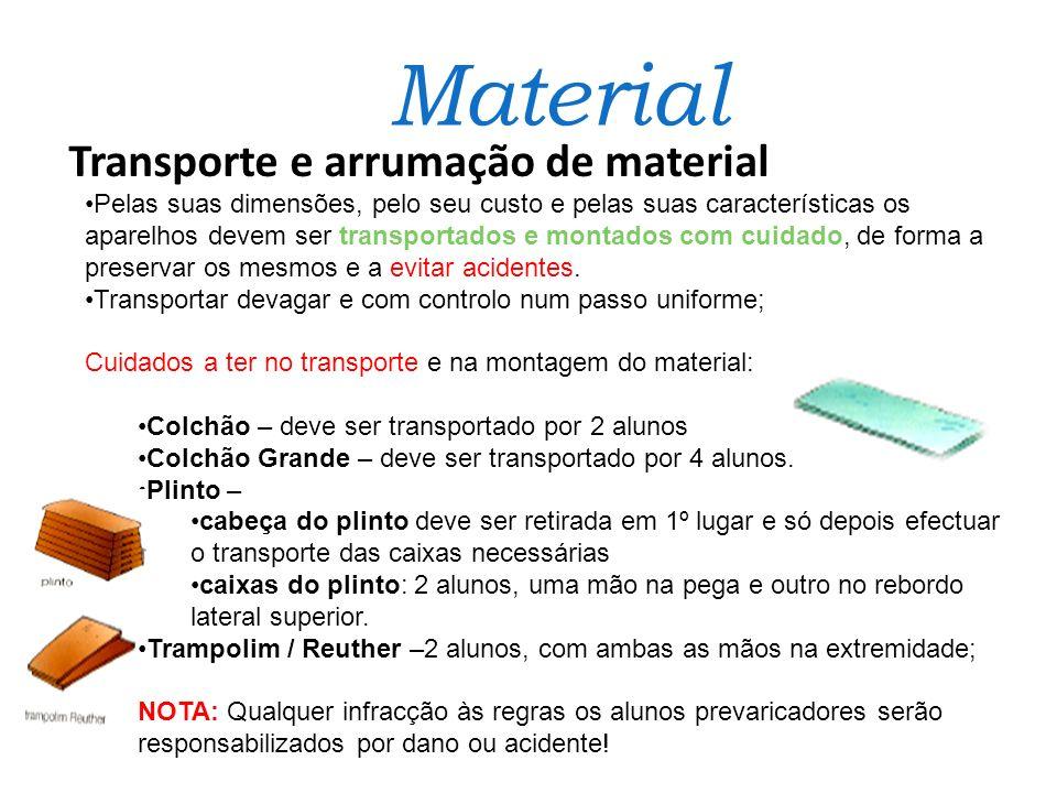 Material Transporte e arrumação de material