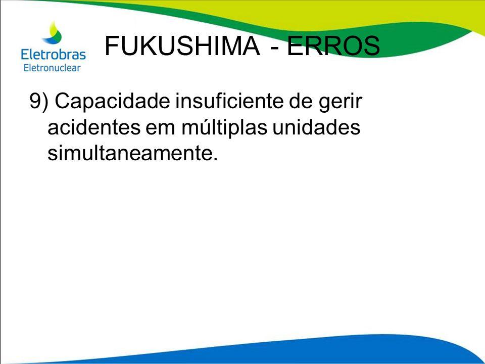 FUKUSHIMA - ERROS 9) Capacidade insuficiente de gerir acidentes em múltiplas unidades simultaneamente.