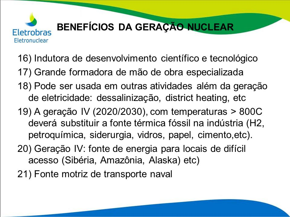 BENEFÍCIOS DA GERAÇÃO NUCLEAR
