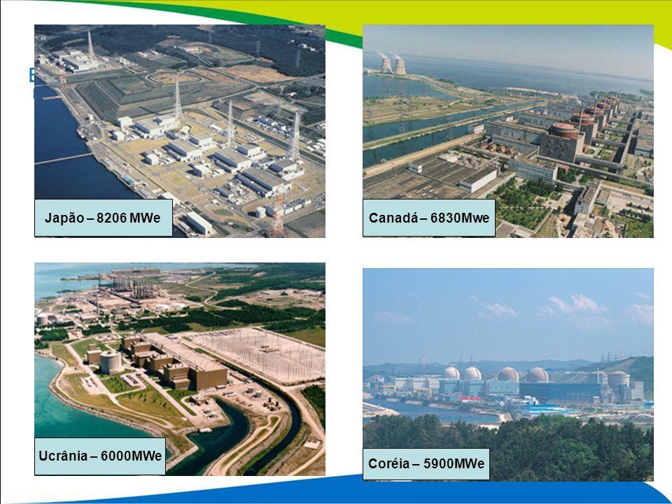 Japão – 8206 MWe Canadá – 6830Mwe Ucrânia – 6000MWe Coréia – 5900MWe