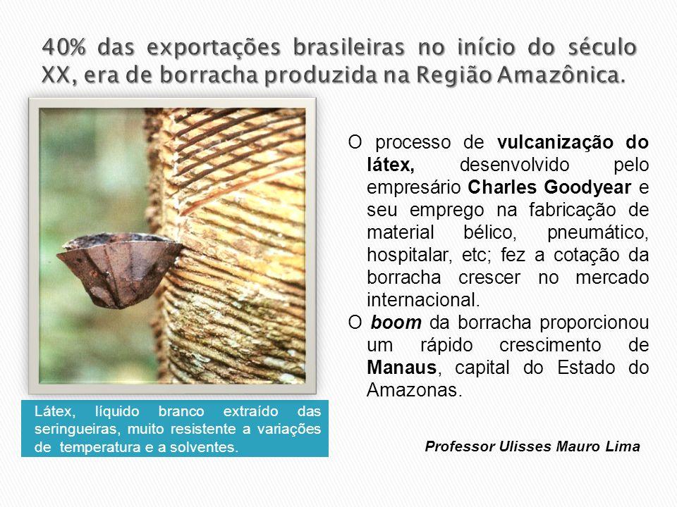 40% das exportações brasileiras no início do século XX, era de borracha produzida na Região Amazônica.