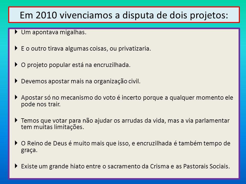 Em 2010 vivenciamos a disputa de dois projetos: