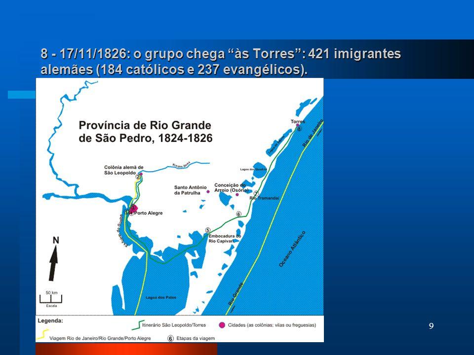 8 - 17/11/1826: o grupo chega às Torres : 421 imigrantes alemães (184 católicos e 237 evangélicos).