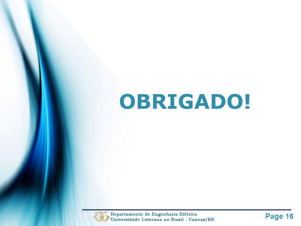 OBRIGADO! Departamento de Engenharia Elétrica