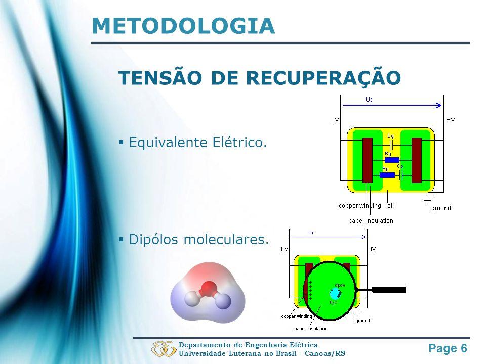 METODOLOGIA TENSÃO DE RECUPERAÇÃO Equivalente Elétrico.