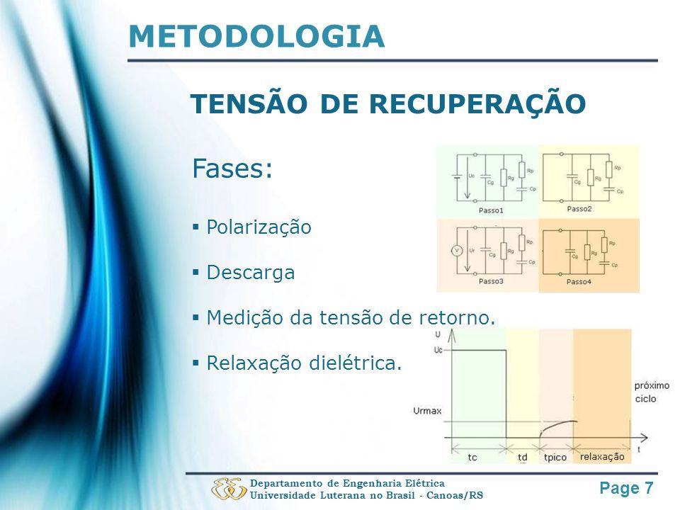METODOLOGIA TENSÃO DE RECUPERAÇÃO Fases: Polarização Descarga