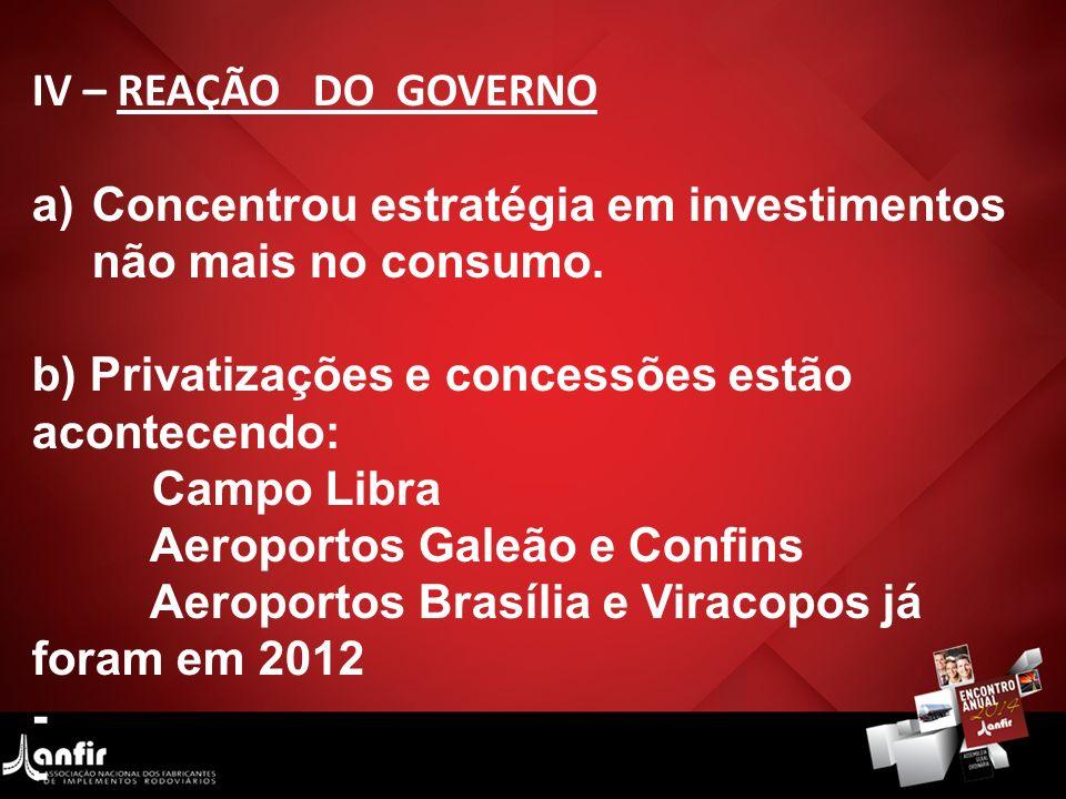 IV – REAÇÃO DO GOVERNO Concentrou estratégia em investimentos não mais no consumo. b) Privatizações e concessões estão acontecendo: