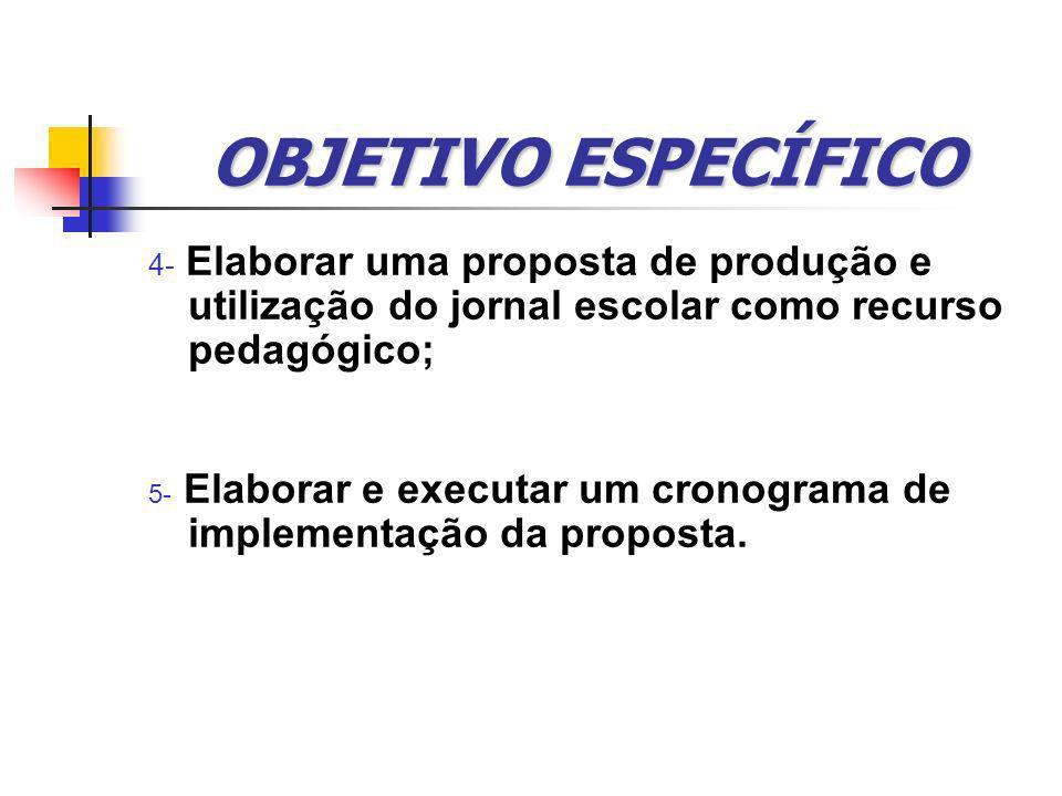 OBJETIVO ESPECÍFICO 4- Elaborar uma proposta de produção e utilização do jornal escolar como recurso pedagógico;