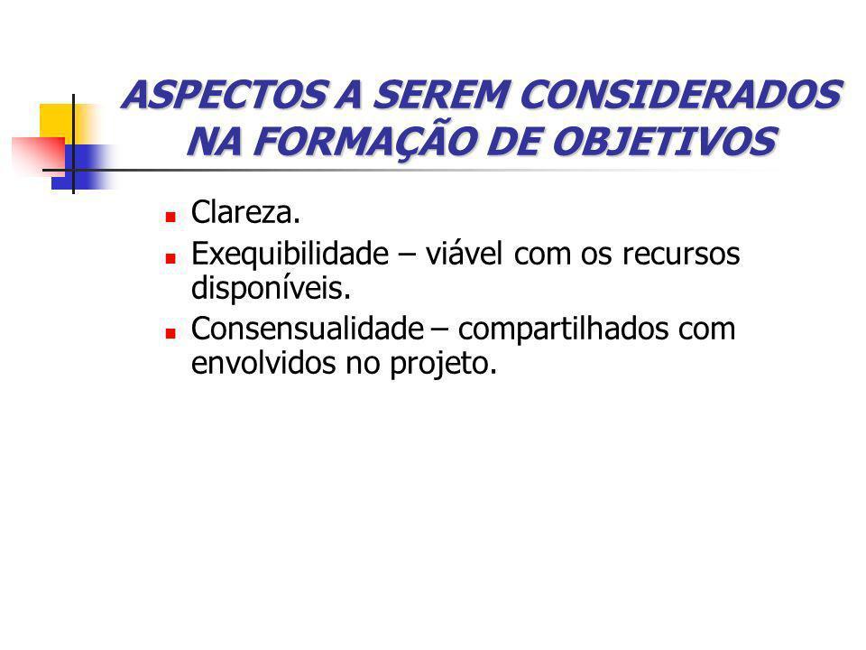 ASPECTOS A SEREM CONSIDERADOS NA FORMAÇÃO DE OBJETIVOS