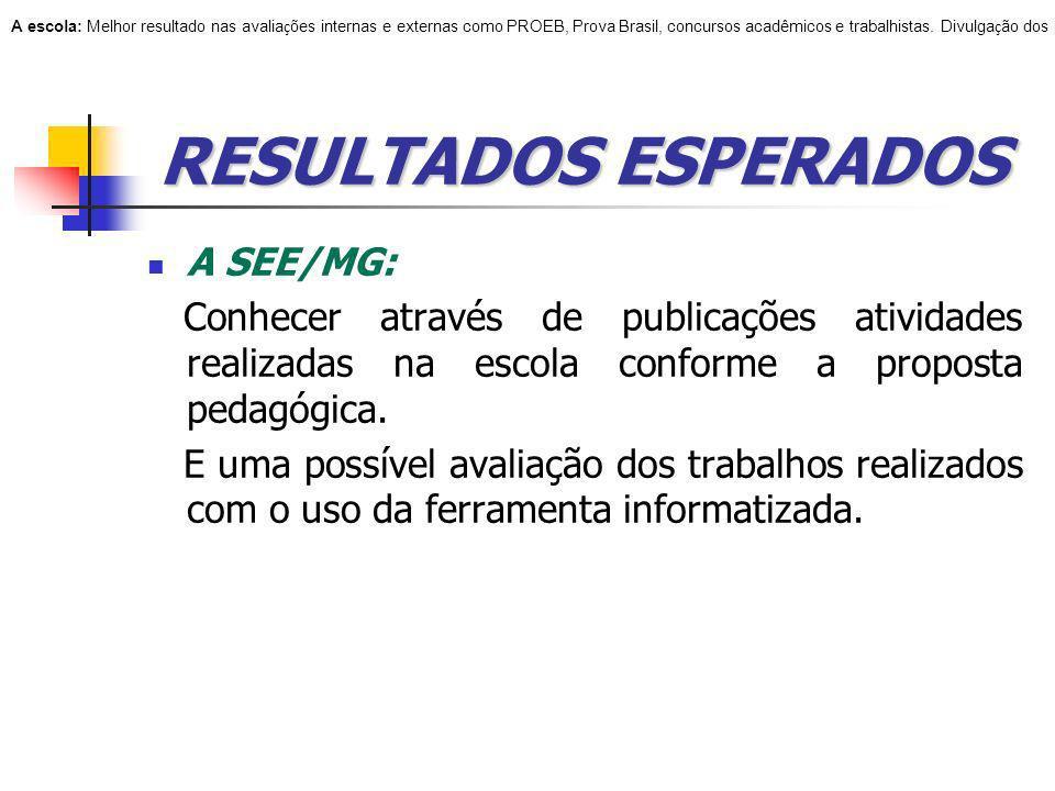 RESULTADOS ESPERADOS A SEE/MG: