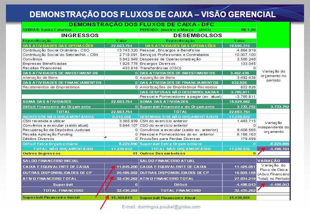 DEMONSTRAÇÃO DOS FLUXOS DE CAIXA – VISÃO GERENCIAL