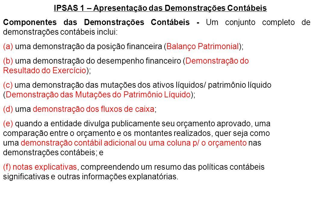 IPSAS 1 – Apresentação das Demonstrações Contábeis