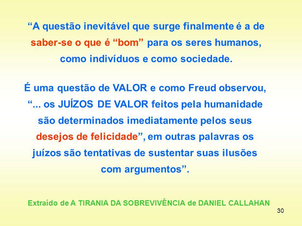 Extraído de A TIRANIA DA SOBREVIVÊNCIA de DANIEL CALLAHAN