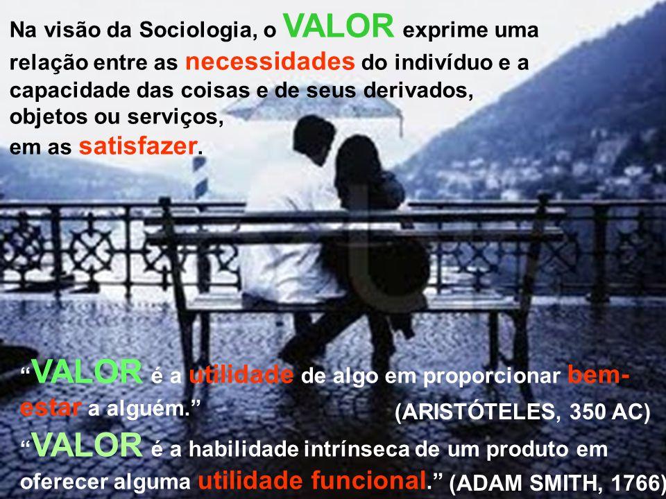 Na visão da Sociologia, o VALOR exprime uma relação entre as necessidades do indivíduo e a capacidade das coisas e de seus derivados, objetos ou serviços, em as satisfazer.
