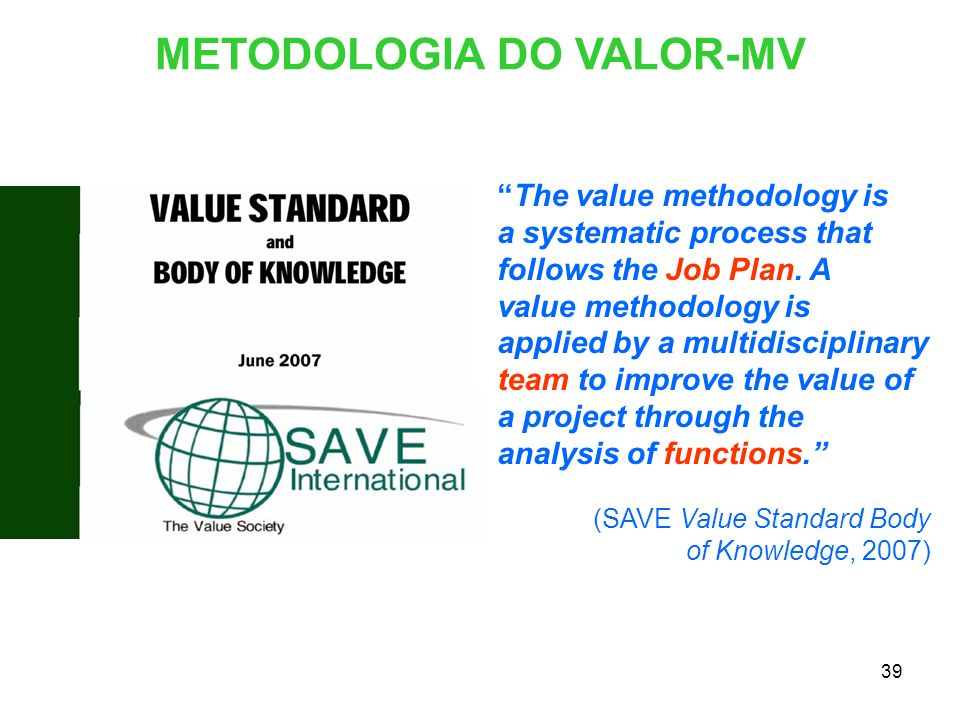 METODOLOGIA DO VALOR-MV