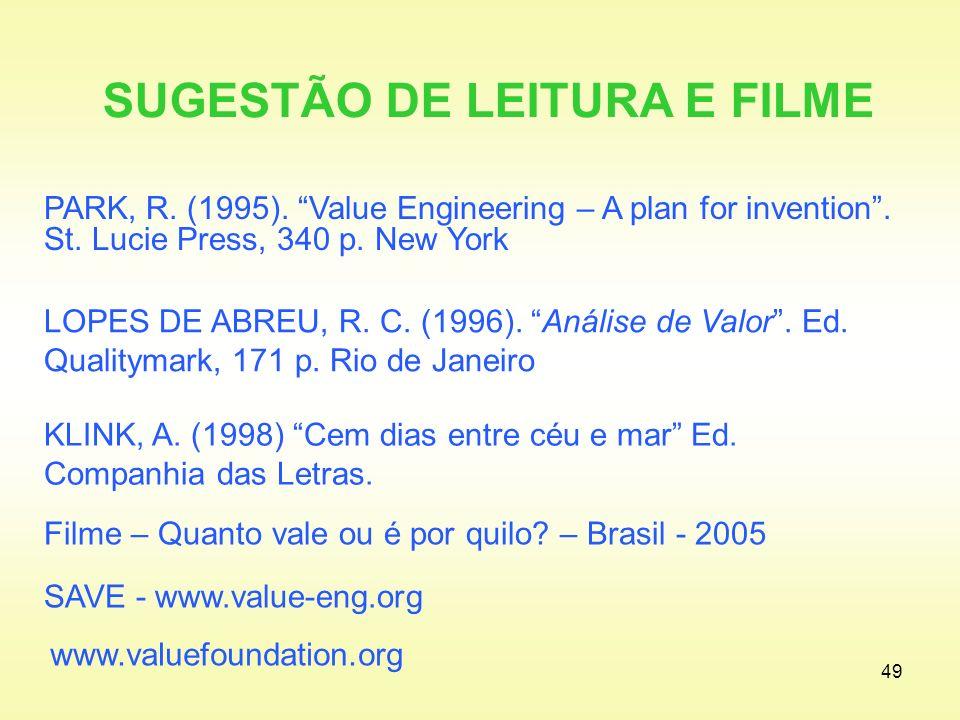 SUGESTÃO DE LEITURA E FILME