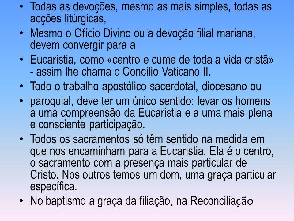 Todas as devoções, mesmo as mais simples, todas as acções litúrgicas,
