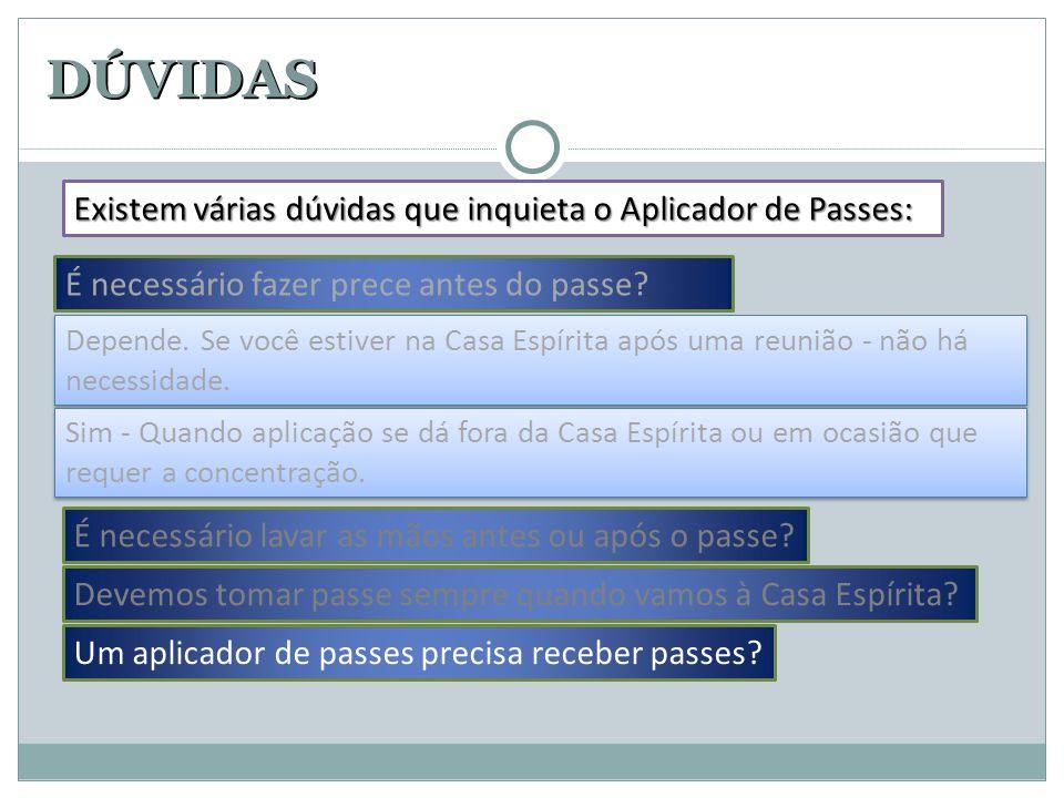 DÚVIDAS Existem várias dúvidas que inquieta o Aplicador de Passes: