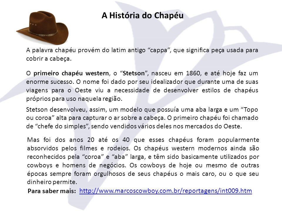 A História do Chapéu A palavra chapéu provém do latim antigo cappa , que significa peça usada para cobrir a cabeça.