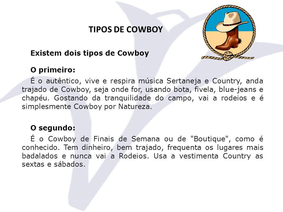 TIPOS DE COWBOY Existem dois tipos de Cowboy O primeiro: