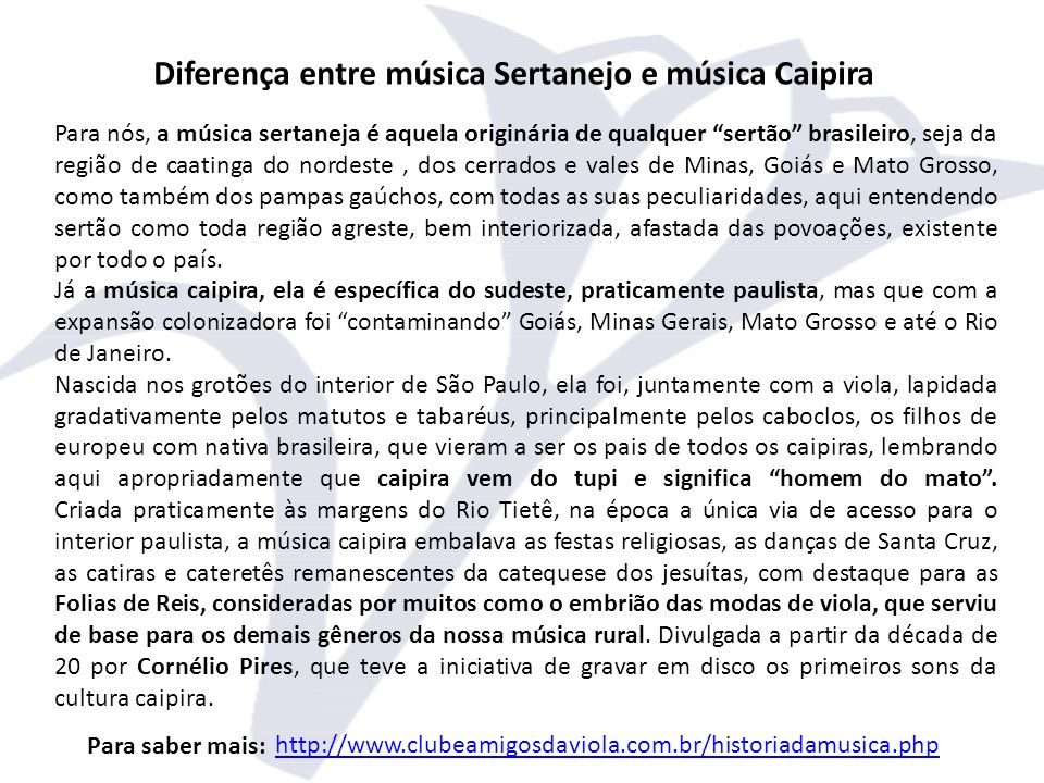 Diferença entre música Sertanejo e música Caipira