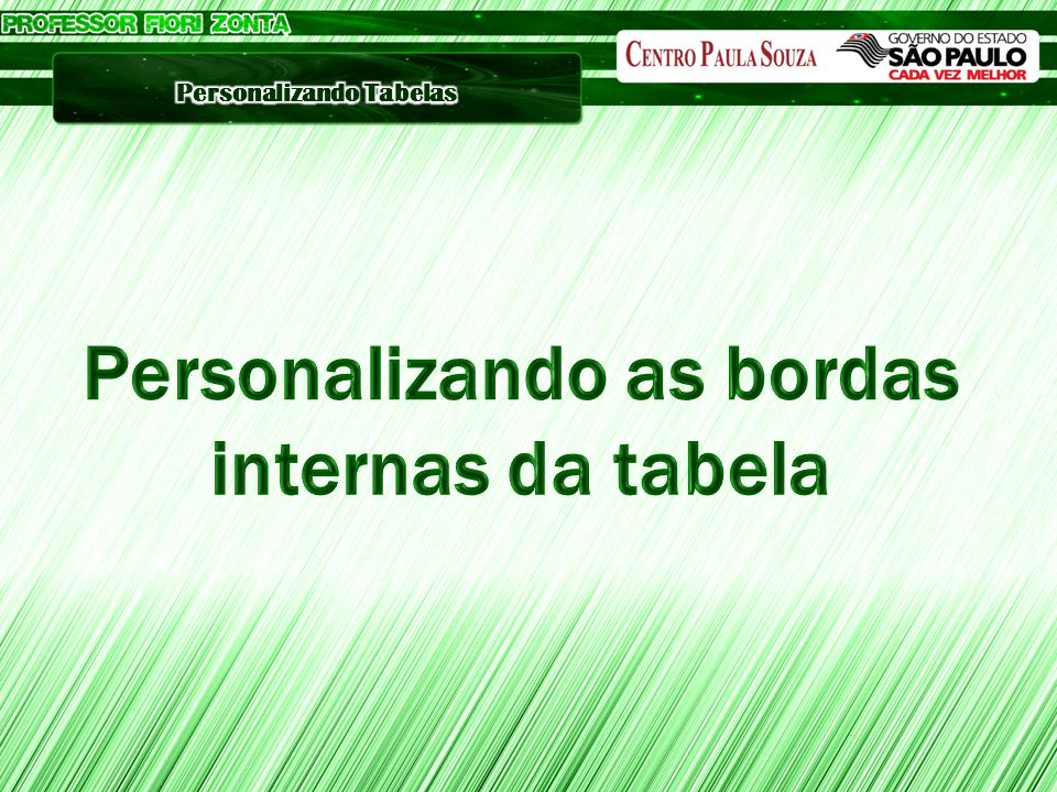 Personalizando as bordas internas da tabela