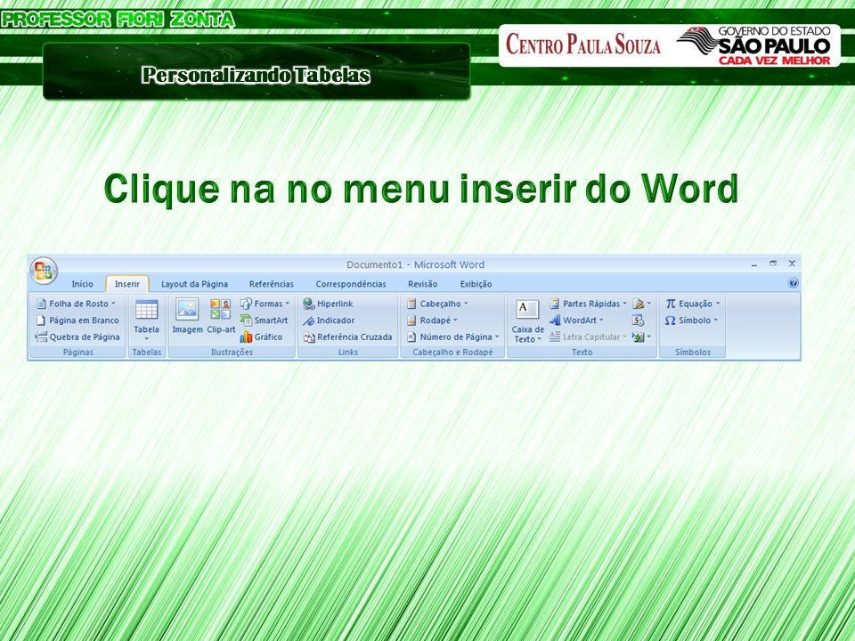 Clique na no menu inserir do Word