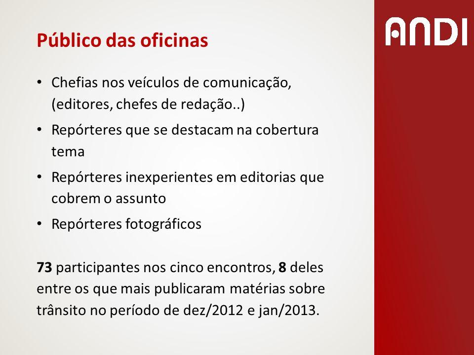 Público das oficinas Chefias nos veículos de comunicação, (editores, chefes de redação..) Repórteres que se destacam na cobertura tema.