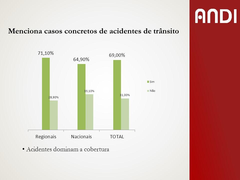 Menciona casos concretos de acidentes de trânsito