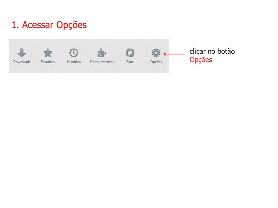 1. Acessar Opções clicar no botão Opções