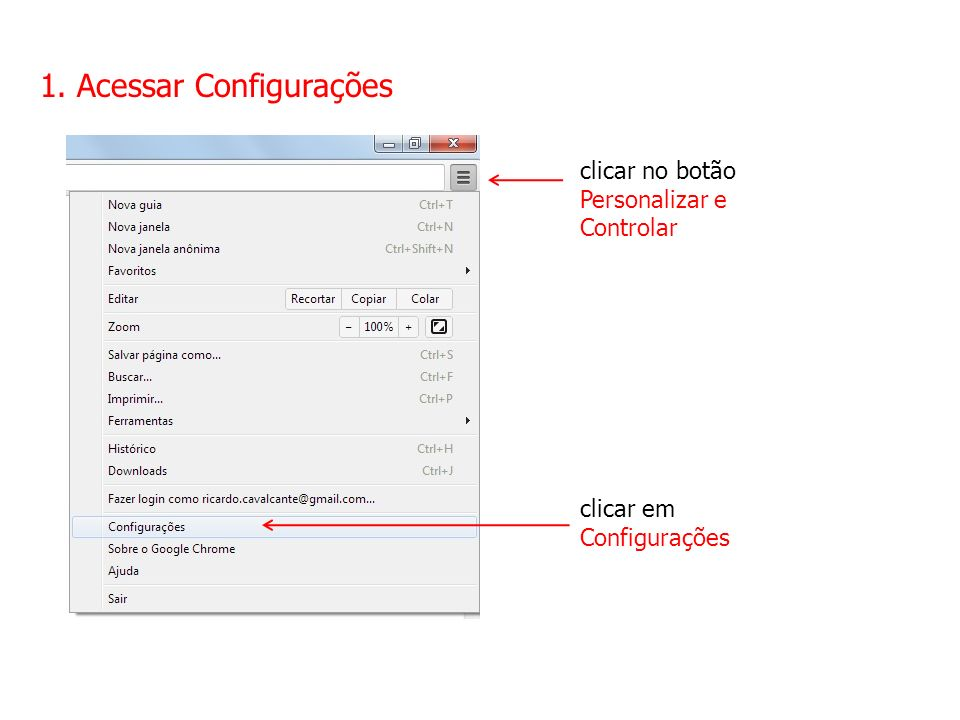 1. Acessar Configurações