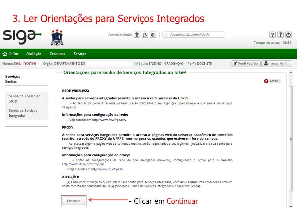 3. Ler Orientações para Serviços Integrados