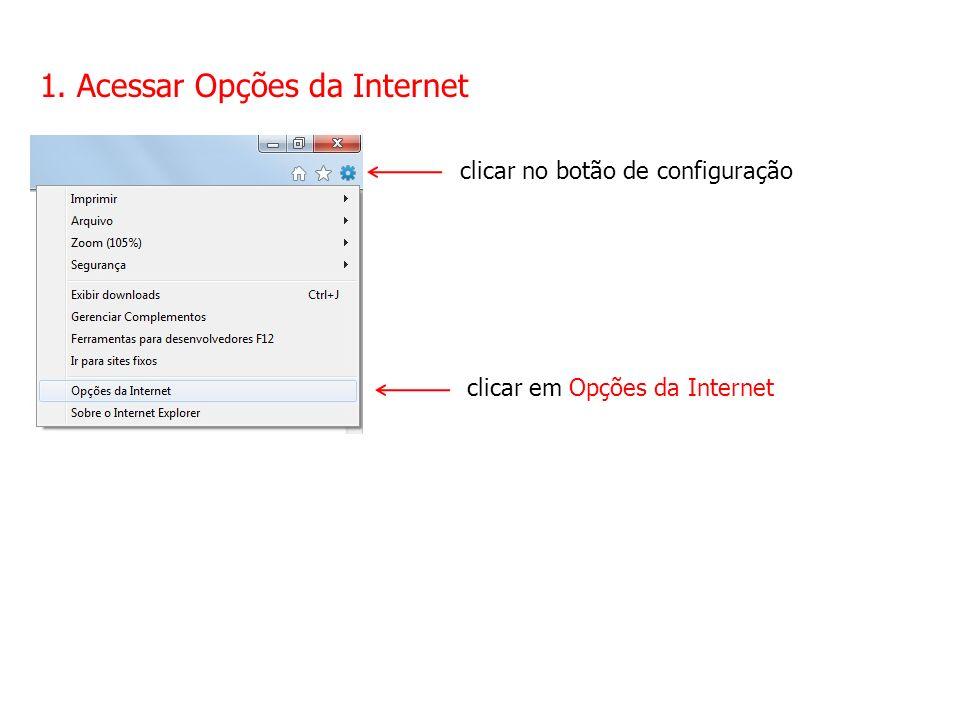 1. Acessar Opções da Internet