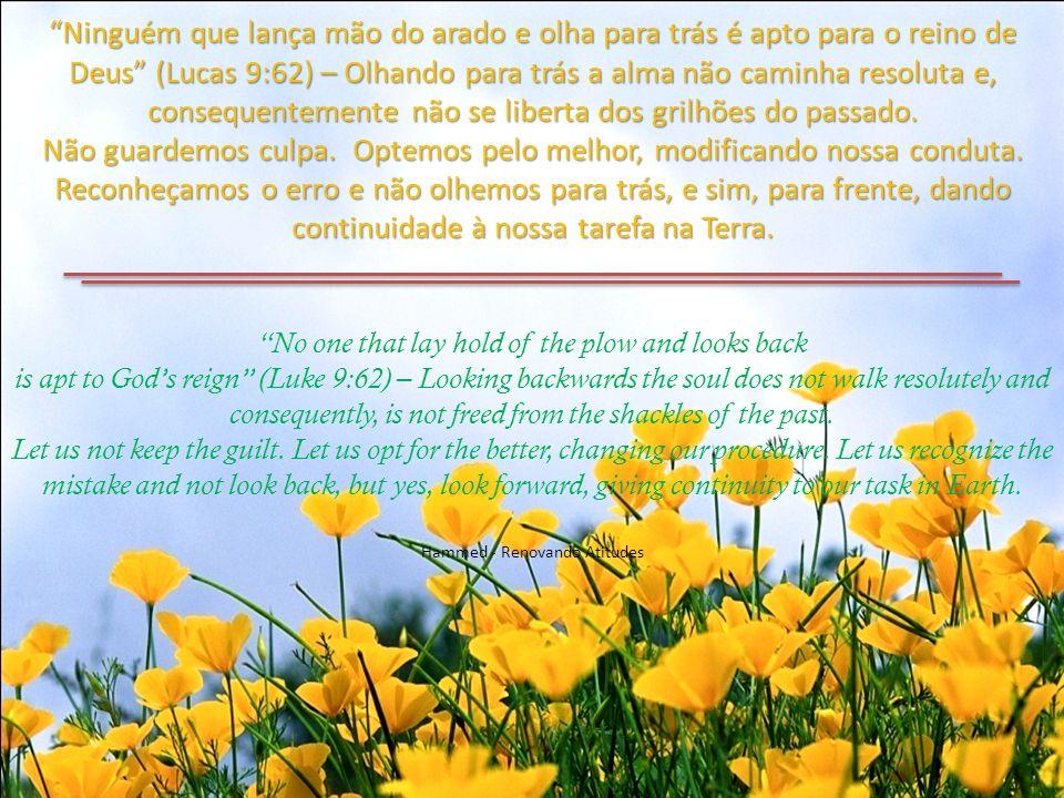 Ninguém que lança mão do arado e olha para trás é apto para o reino de Deus (Lucas 9:62) – Olhando para trás a alma não caminha resoluta e, consequentemente não se liberta dos grilhões do passado.